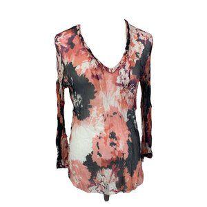 Elie Tahari sheer silk abstract pink v-neck long s